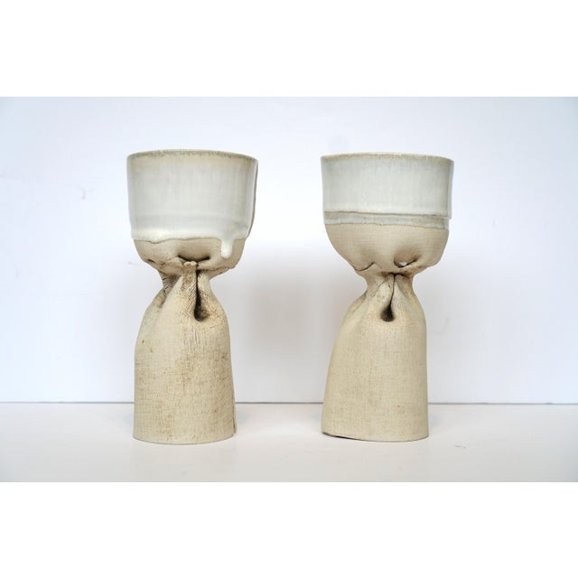 Organic Pottery Candle Holders - Image 2 of 5