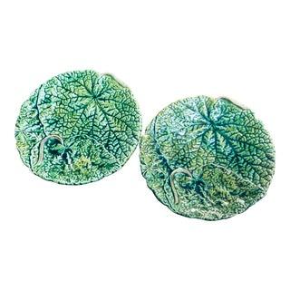 19th Century English Majolica Geranium Leaf Plates, England - a Pair For Sale
