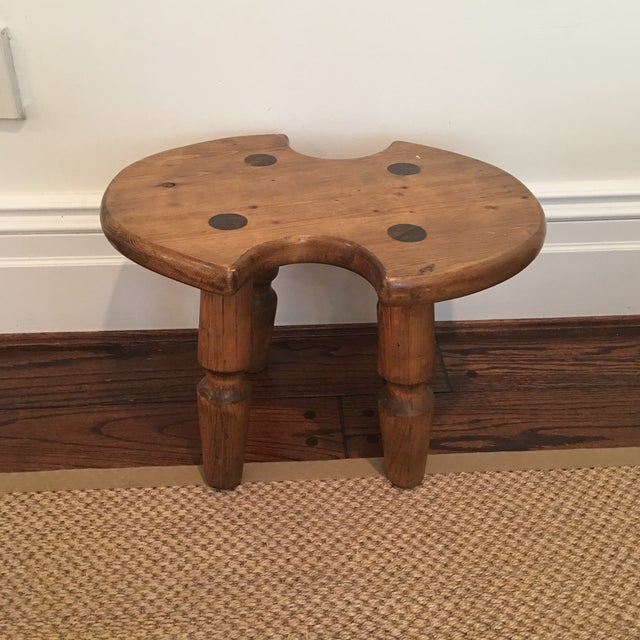 1950s Rustic Americana Wooden Stool For Sale - Image 5 of 11