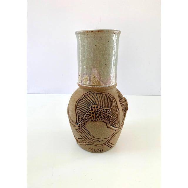 "Vintage Signed ""Moni"" Ceramic Vase, Mid Century Era For Sale - Image 4 of 13"