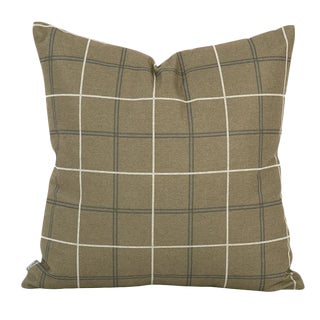 Cottage Oxford Moss Plaid Down Pillow For Sale