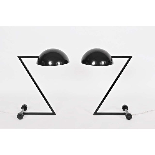 """Black 1980s George Kovacs Style Black """"Z"""" Desk Lamps - a Pair For Sale - Image 8 of 9"""