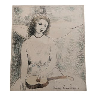 """Marie Laurencin Hand Colored Etching """"Jeune Fille a La Guitare"""" For Sale"""