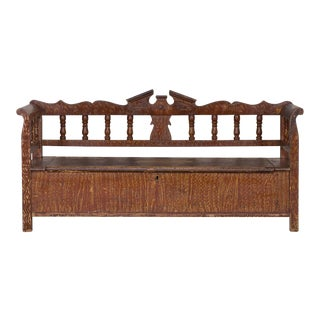Hungarian Romanian Antique Painted Pine Bench circa 1875 For Sale