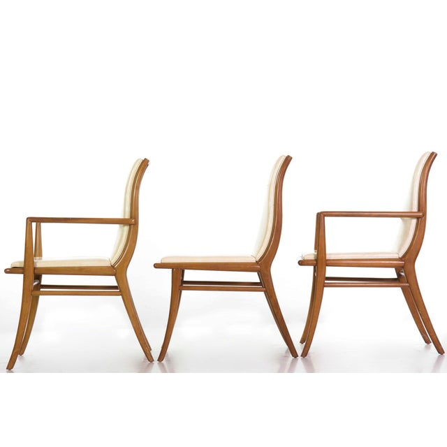 Plastic t.h. Robsjohn-Gibbings for Widdicomb Walnut Dining Table W/ Six Chairs Circa 1957 For Sale - Image 7 of 13