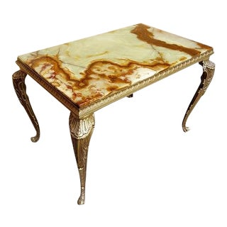 Antique Versailles Napoleon Style French Small Marble Top Console Table