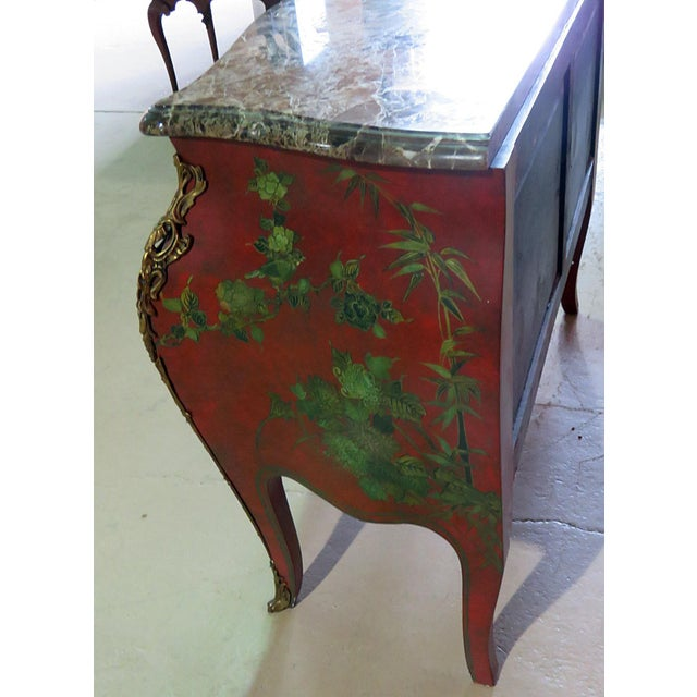 Red Marble Top Green Paint Decorated Bombe Red Commode For Sale - Image 8 of 11