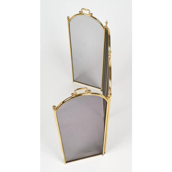 1950s Vintage French Neoclassical Brass Fire Screen For Sale - Image 5 of 10