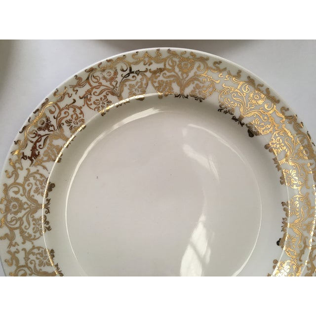 Traditional Gold Patterned Rim Plates - Set of 5 For Sale - Image 3 of 5