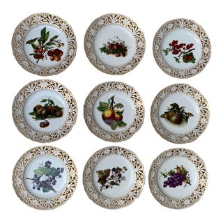 Vintage Traditional Reticulated Hand-Painted Fruit Plates - Set of 9 For Sale