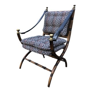Wood and Leather Campaign/Safari Chair For Sale