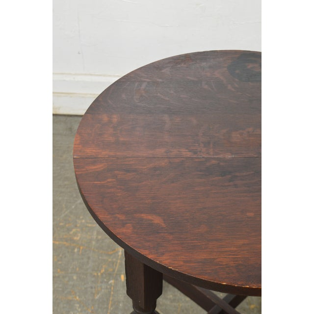 Arts & Crafts Style Antique Round Oak Drinks Table Stickley Era For Sale - Image 11 of 13