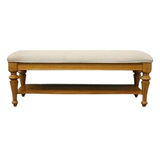 Late 20th Century Vintage Stanley Furniture Cottage Revival Collection Bed End Bench For Sale