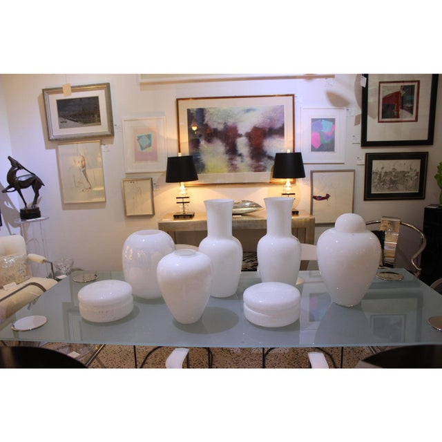 Vintage Venini Murano White Glass Vases - a Pair - Part of a Collection For Sale - Image 9 of 10