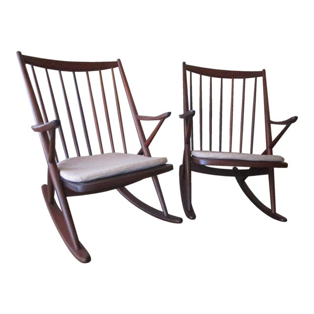 Brown Frank Reenskaug for Bramin Mobler Rosewood Danish Rocking Chairs For Sale - Image 8 of 8