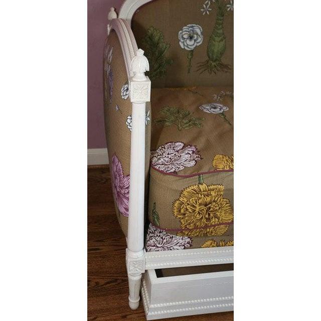 Modern Ornately Wood Carved Custom Botanical Print Upholstery Day Bed For Sale - Image 11 of 12