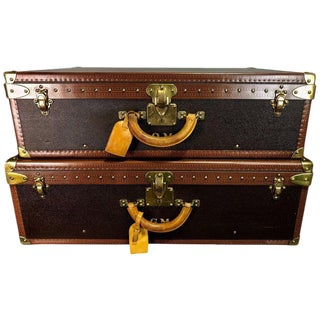 Hers & His Custom Louis Vuitton Alzer Suitcases For Sale