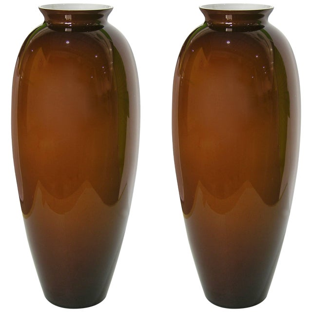 1980 Modern Italian Golden Brown Murano Glass Vases With White Interiors - a Pair For Sale