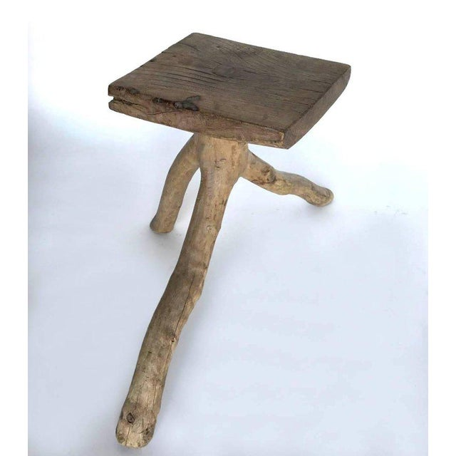 Rustic Rustic Vintage Three-Legged Elmwood Stool For Sale - Image 3 of 10