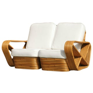 Restored Paul Frankl Six-Strand Square Pretzel Stacked Rattan Loveseat For Sale