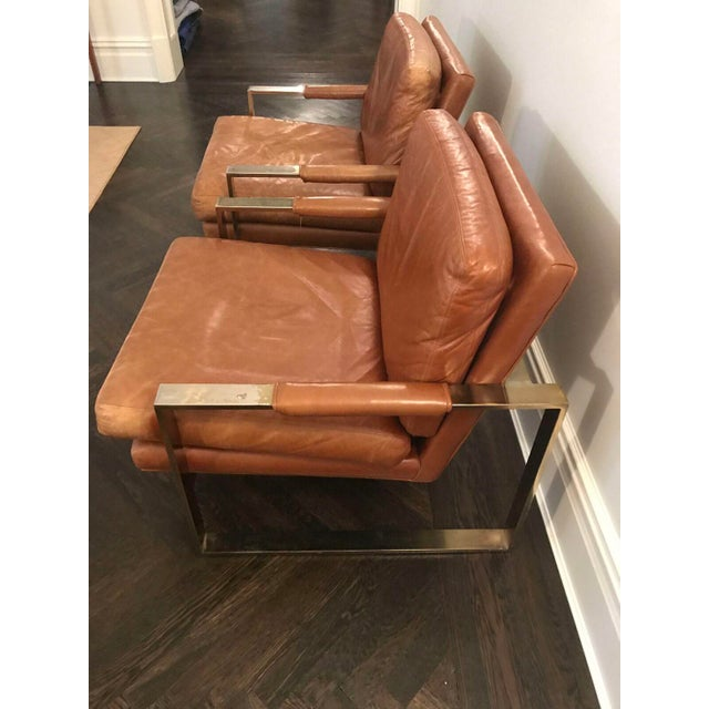 Milo Baugman by Thayer Coggin Brown Leather Chairs - a Pair - Image 6 of 6