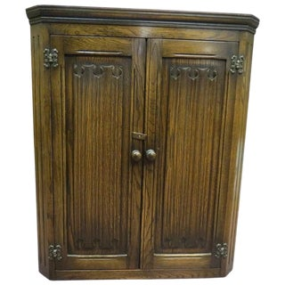Antique English Dark Oak Corner Cabinet For Sale