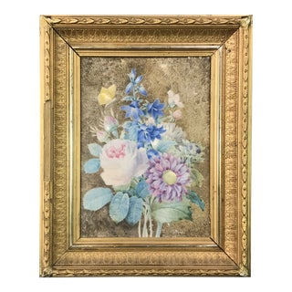 19th Century Floral Still Life Gouache Painting by Camille De Chantereine, Framed For Sale
