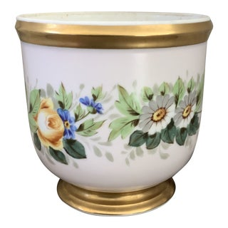 1940s Vintage Hand Painted Gold Rimmed Numbered Portuguese Porcelain Flower Pot For Sale