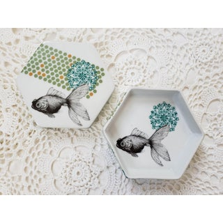 Boho Chic Anthropologie Porcelain Fish Trinket Jewelry Box Preview