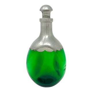 Emerald Green Art Glass Pinched Pewter Decanter Made in Holland For Sale