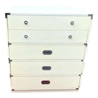 Vintage Bernhardt White Campaign 5 Drawer Dresser For Sale
