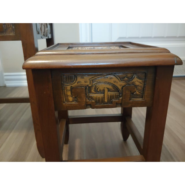 1960's Carved Asian Nesting Tables - Set of 4 For Sale - Image 4 of 8