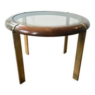 1970s Mid-Century Modern Milo Baughman Walnut Brass Coffee Table For Sale