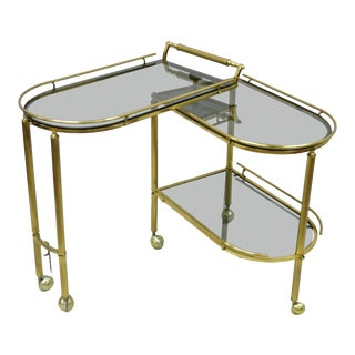 20th Century Hollywood Regency Swivel Rolling Bar Cart For Sale