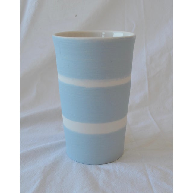 2010s Contemporary Ceramic Striped Cylindrical Vessels - Group of 6 For Sale - Image 5 of 11