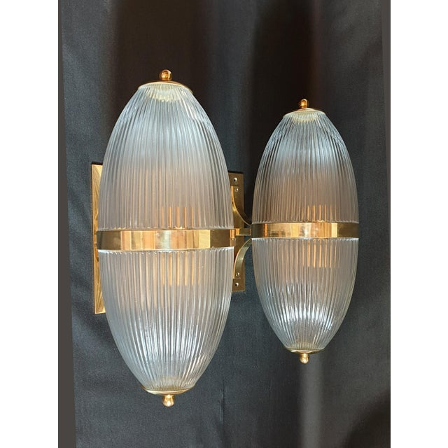 Art Deco Large Mid-Century Modern Clear Glass & Brass Italian Sconces or Lanterns - a Pair For Sale - Image 3 of 12