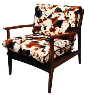 Mid Century Curated Walnut Danish Arm Chair For Sale