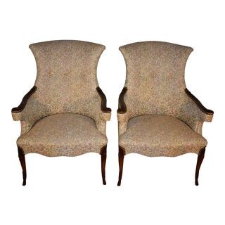 1910s Antique Regency Mahogany Living Room Spring-Seat Chairs- A Pair For Sale
