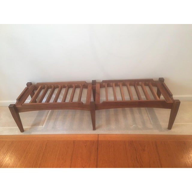 Mid-Century Modern Bench Handmade from Solid Walnut with cushion