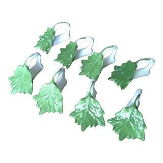 Green Ceramic Leaf Napkin Ring Holders - Set of Eight For Sale