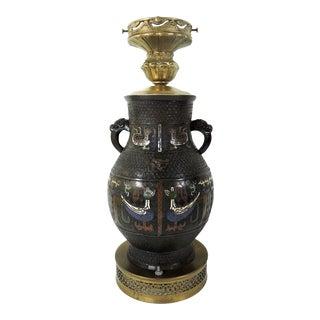 Antique Japanese Archaic Bronze & Multi Coloured Cloisonné Elephant Handled Table Lamp For Sale
