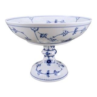 1980s Danish Modern Royal Copenhagen Blue Fluted Plain Pedestal Bowl For Sale