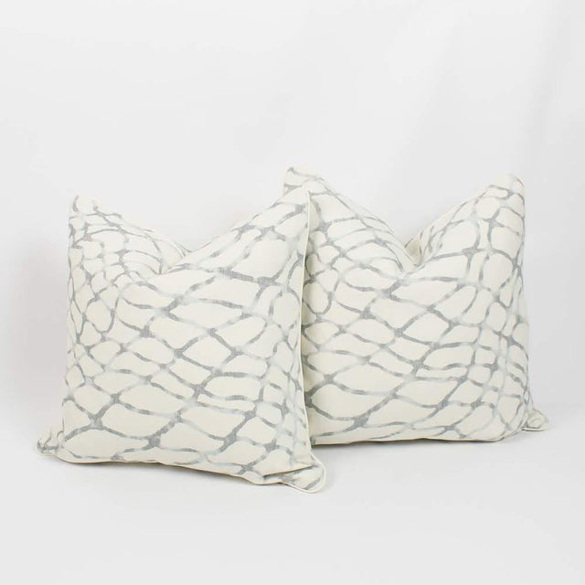 2010s Ivory and Blue Gray Linen Lagoon Pillows, a Pair For Sale - Image 5 of 6