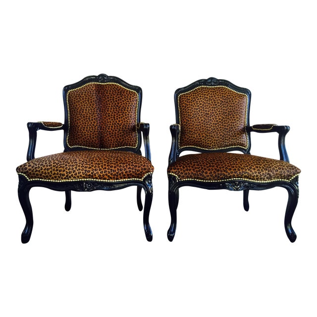 "French Black Lacquered ""Leopard"" Armchairs - Pair - Image 1 of 9"
