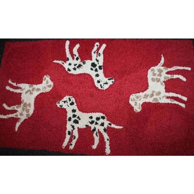 1920s Hand Hooked and Mounted Pictoral Dogs Rug - Image 4 of 5