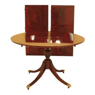 Traditional Baker Round Mahogany Dining Room Extension Table For Sale