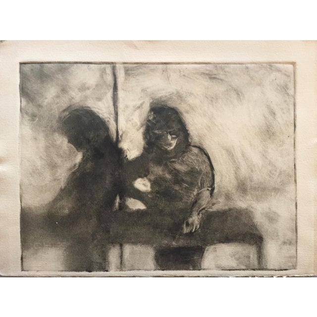 1980s Vintage Two Figures Lithograph by Lisa Winick - Image 2 of 5