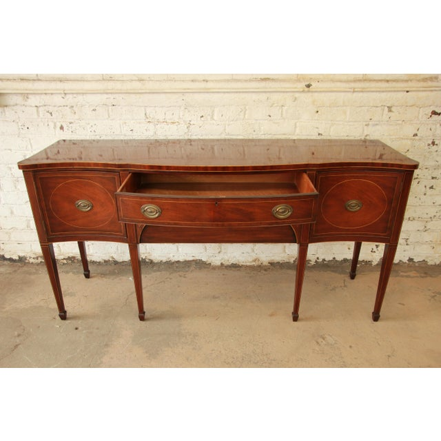 Metal Kittinger Hepplewhite Inlaid Mahogany Sideboard Buffet For Sale - Image 7 of 11