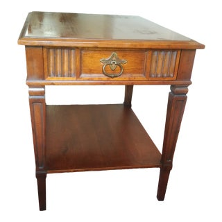 1970s Italian Renaissance Drexel Heritage Carved Walnut Single Drawer End Table For Sale