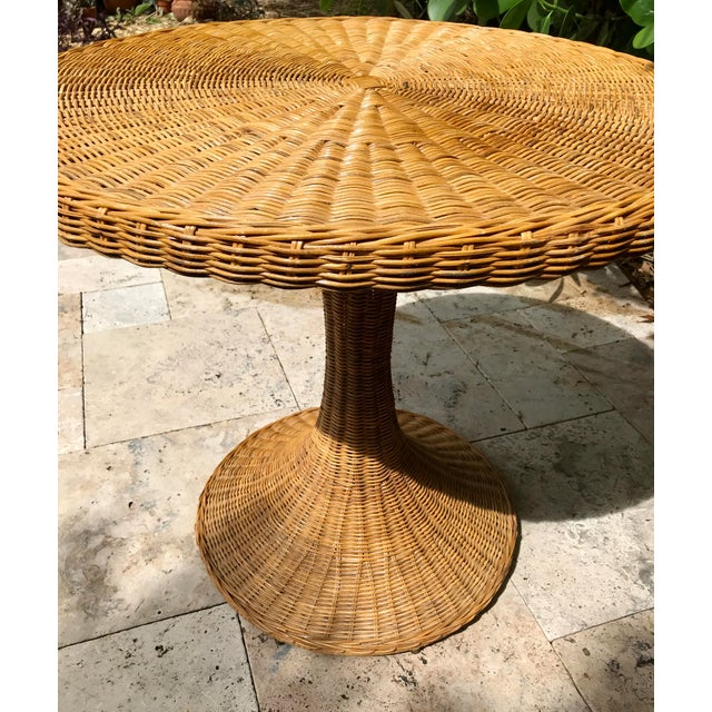 Wicker Vintage Wicker Rattan Dining Table For Sale - Image 7 of 13